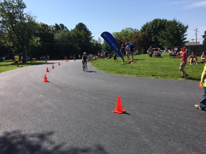 Aubrie finishes Rock Hall Sprint bike leg